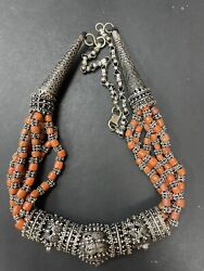Vintage Hand Made Yamani Silver Red Coral Beduin Heavy Necklace 156 Grams R4