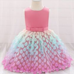 Princess Lace Sequins Design Dress For Girls Infants Sleeveless Round Collar New