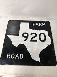 Authentic Retired Texas Farm Road 920 Highway Sign Parker Wise County