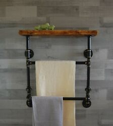 Industrial Pipe Double Towel Rail With Wood Shelf