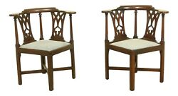 F51500ec Pair Antique Southern Design Chippendale Corner Chairs