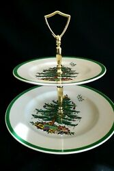 Vintage Spode Porcelain Christmas Tree Two Tier Handled Serving Tray 10 England
