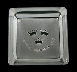 Vintage Swedish American Lines Cruise Ship Small Frosted Glass Ashtray Travel