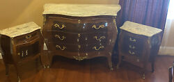 3 Pcs Antique Xv French Inlaid Bronze Mounted Marble Top Commode + Side Tables
