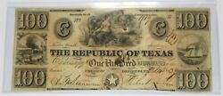 1839 100 Republic Of Texas Redback One Hundred Dollar Note Bill Currency 27017f