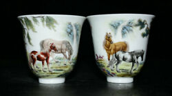 3 Yongzheng Marked Chinese Famille Rose Porcelain Animal Horses Small Cup Set