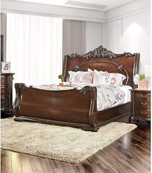 Furniture Of America Luxury Brown Cherry Baroque-style Sleigh Bed Queen