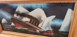 Rms Titanic Vintage Reverse Painting On Glass 2