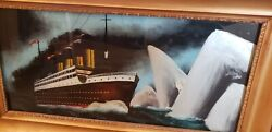 Rms Titanic Vintage Reverse Painting On Glass 1