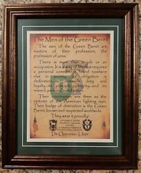 Mc-best Army Special Forces Men Of The Green Beret Framed Matted Personalized