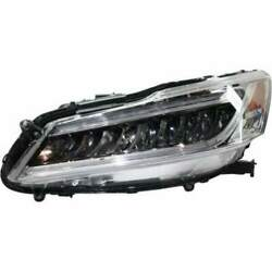 Headlight For Honda Accord 16-17 Driver Side Oe Replacement Led With Bulbs