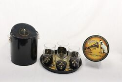 Vintage Rca His Masters Voice Items- 6 Glasses 1 Ice Bucket 1 Tray 1 Tin