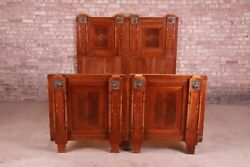 Antique French Art Deco Mahogany Queen Size Bed Circa 1920s