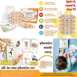 Little Bud Kids Spin-and-read Montessori Phonetic Reading Blocks And Flashcard T