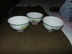 Lot Of 3 Villeroy And Boch French Garden Fleurence Rice Cereal Soup Bowls
