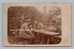 Ww1 Antique German Real Photo Rppc Postcard Soldiers Playing Chess Medic Armband
