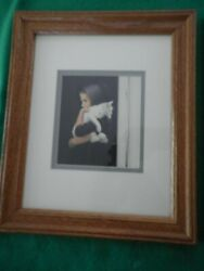 A. Noel Nancy Amish Art Print Frame And Double Matted Picture Lot Sarah With Cat