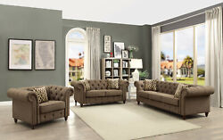 Sofa Love Seat And Chair Living/ Home Furniture Modern Design Brown Linen Fabric