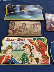 Vintage Old Sewing Needle Books Folders Lot Of 4