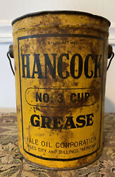 Vintage Original Hancock Yale Oil No. 3 Cup Grease 5 Pound Can Great Patina