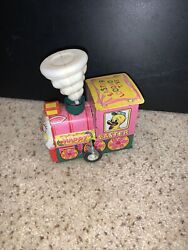 Rare Vintage Tin Toy Windup Working Easter Locomotive With Spinning Steam Litho
