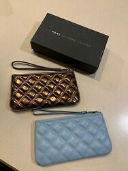 MARC JACOBS Women#x27;s Lot of 2 Quilted Leather Clutch Wristlet $39.95