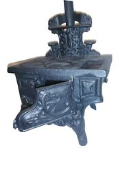 Vintage Crescent Miniature Cast Iron Stove With Accessories