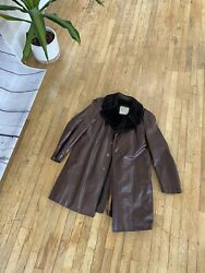 London Fog Men's Distressed Brown Leather Faux-fur Lined Mid-weight Jacket 42r