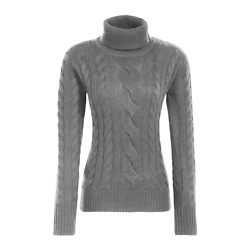 Alps And Meters Women's Classic Cable Knit Sweater Grey Sz. Large 395