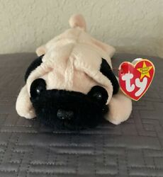 Pugsly Beanie Baby - Ty Pug Dog 1996 P.v.c. Pellets Retired, Rare And Pristine
