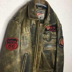 Yellow Corn Riders Jacket Leather Men Vintage Free Size Tokyo From Japan Rare