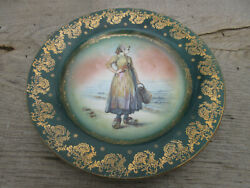 Antique Royal Vienna Beehive Cabinet Display Plate 9 5/8 Woman And Wooden Shoes