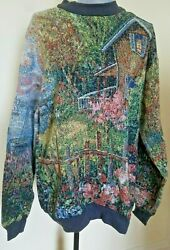 Sugar Street Weavers Tapestry Sweater Size L Cottage By Lake Scene