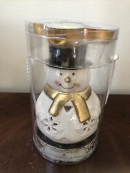 Dept 56 Tealight Holder Snowman With Coconut Snowball Cookie Candles Fits Yankee