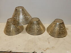 4 Antique Metal Pierced Shades For Candle Chimneys