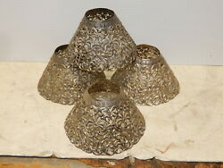 4 Antique Metal Pierced Shade For Candle Chimneys