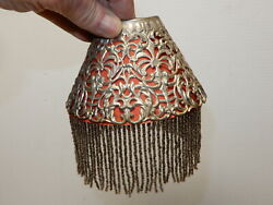 Antique Metal Pierced Shade For Candle Chimneys With Liner And Beaded Fringe