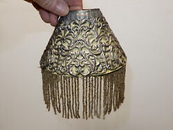 Antique Metal Pierced Shade For Candle Chimneys Mica Liner And Beaded Fringe