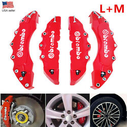 4pcs 3d Style Car Disc Brake Caliper Covers Front And Rear Kits Red Universal L+m