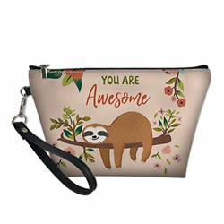 FOR U DESIGNS Makeup Travel Bag Sloth Floral PrintedLarge Portable Cosmetic of $10.84