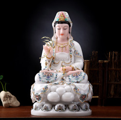 16 Chinese White Marble Gold Painting Handcarved Guanyin Bodhisattva Statue