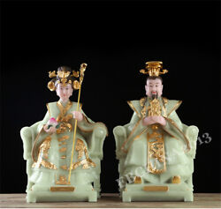 17 China Art Carved White Marble Jade Inlay Brass Emperor Queen Mother Statue