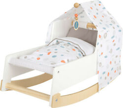 Small Foot Wooden Doll's Cot Cradle | Wooden Doll Furniture | Fits Baby Dolls
