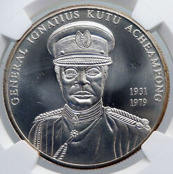 2002 Ghana General Ignatius Lion In Shield Silver 100 Shilling Coin Ngc I89278