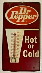 Vintage Antique Dr. Pepper Hot Or Cold Metal Advertising Thermometer