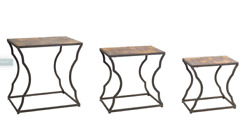 Nesting Side Tables Set Of 3 Wood Top Metal Farmhouse Curved Leg