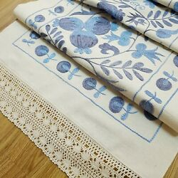 Blue Suzani Table Runner With Laceembroidered Dresser Scarfsuzani Bed Runner