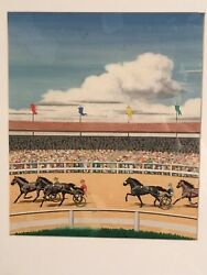 Vintage 1940andrsquos Original Horse Race Painting Harness Racing Trotter Board Game