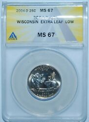 2004 D Anacs Ms67 Wisconsin Wi Quarter Extra Leaf Low