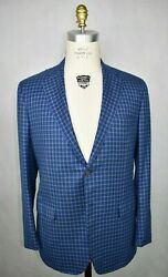 Nwt Kiton Blue W/ Green And Brown Plaid Cashmere Silk Blend Sport Coat 48 L Us
